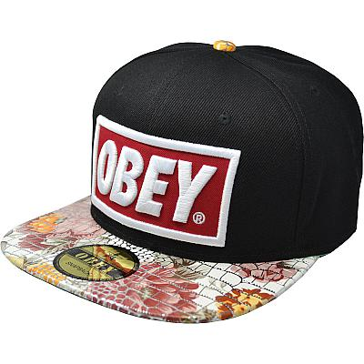 Купить Гламур Obey black / flowers / green / red-white logo интернет магазин
