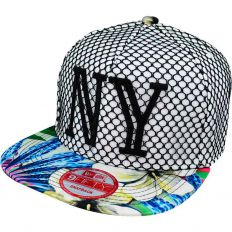 Купить New York white / blue flowers / black logo интернет магазин